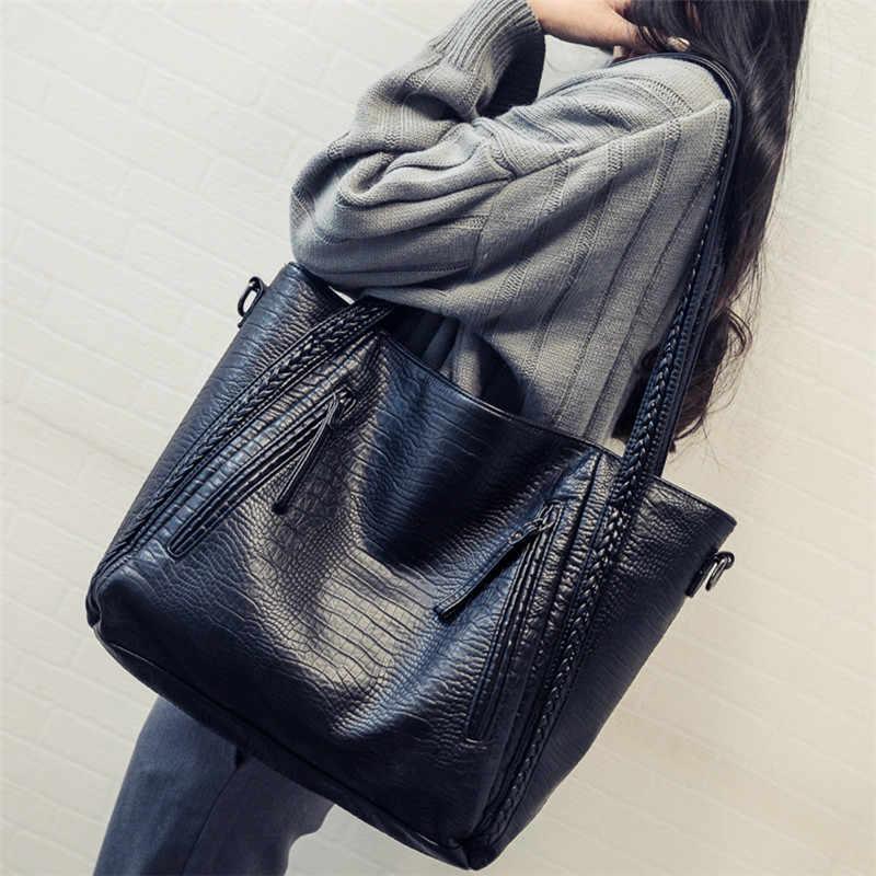 Totes Taschen Frauen Große Kapazität Handtaschen Frauen PU Schulter Umhängetasche Weibliche Retro Krokodil Täglichen Totes Messenger Handtaschen