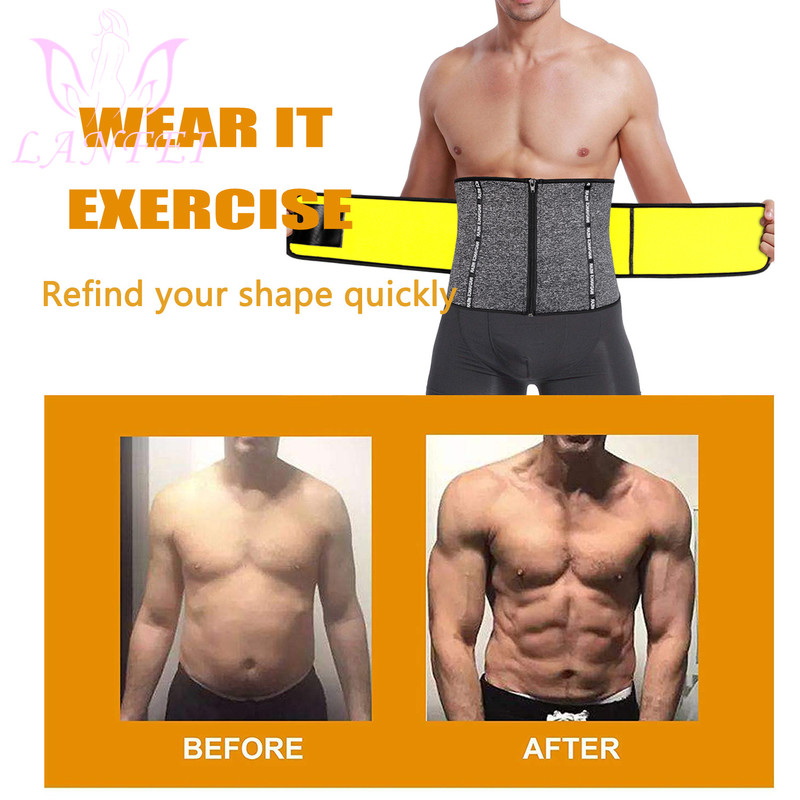 LANFEI Hot Neoprene Body Shaper Waist Trainer Belt Sauna Slimming Tummy Control Strap Men Sport Fitness Sweat Corset Fat Burner