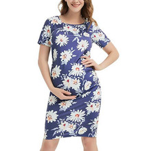 Female Casual Pregnant Dress Short Sleeve Flower Printed Round Neck Bodycon Dress Mini Dresses For Maternity Women Robe #LR5 refreshing long sleeve tiny flower printed flounced dress for women