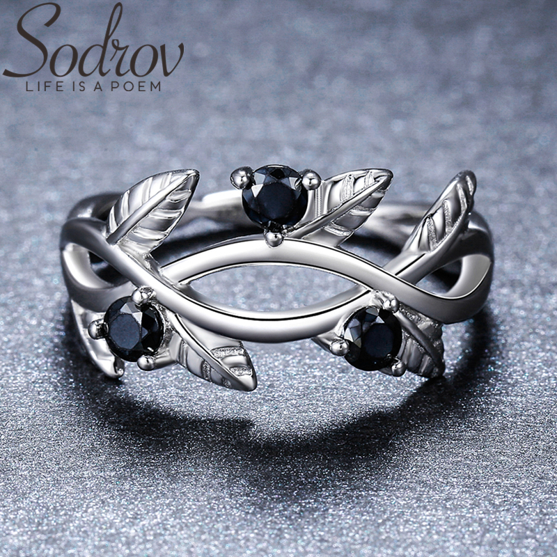 SODROV 925 Sterling Silver Ring Olive Branch Trendy Wedding Rings For Women Female Bague Fine Jewelry G074