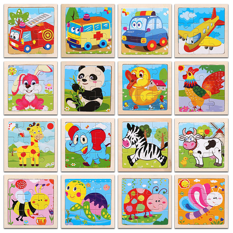 3D Paper Kids Childrens Baby Early Childhood Educational Toys Wooden Small 9-Piece Jigsaw Puzzle 1-3-Year-Old Cartoon Animal