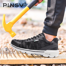 Pinsv Plus Sizes 36-48 Men Sneakers Anti-smashing Safety Shoes With Steel Toe Cap Lace-up Boots For Work