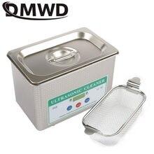 Dmwd mini tanque de limpeza ultrassônico, tanque de limpeza ultrassônico de aço inoxidável, máquina de lavar, joias, relógio, ultrassom, onda, ue