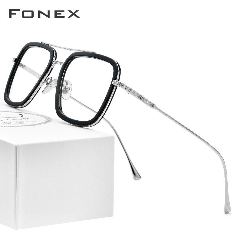 FONEX pur titane acétate hommes rétro Tony Stark lunettes cadre myopie optique Edith Prescription lunettes pour femmes 8512