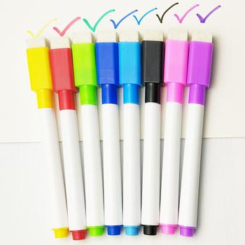 5 8 sztuk partia kolorowe czarny szkoła klasie tablica długopis Dry White Board markery zbudowany w gumka Student dla dzieci pióro do rysowania tanie i dobre opinie HonC whiteboard B101 Wielokrotnego napełniania 5 długopisy box opp bag 13cm Other