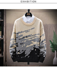 Round Neck Men Autumn Sweaters Casual Long Sleeve Wool Knitted Mens Thicken Pullover Trendy Male Jumper Warm