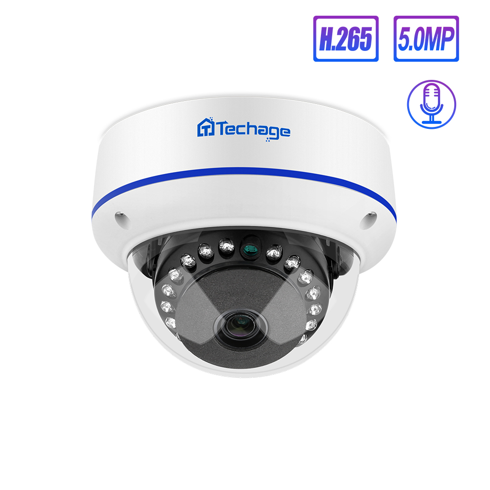 <font><b>Techage</b></font> 4MP 5MP H.265 Security <font><b>POE</b></font> <font><b>Camera</b></font> 48V Dome Outdoor Indoor IP <font><b>Camera</b></font> Video Ntework Surveillance ONVIF for NVR System Kit image