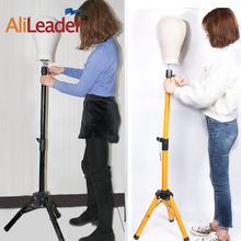 Alileader 45 Inch Adjustable Tripod Stand Professional Wig Display Salon Mold Hair Clamp Holder Mannequin Head Stands Gold Color