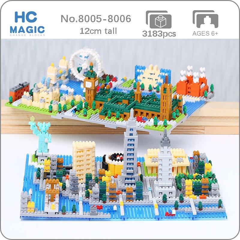 Architecture New York ville Statue de la liberté London Eye Big Ben tour pont bricolage Mini diamant blocs briques construction jouet pas de boîte