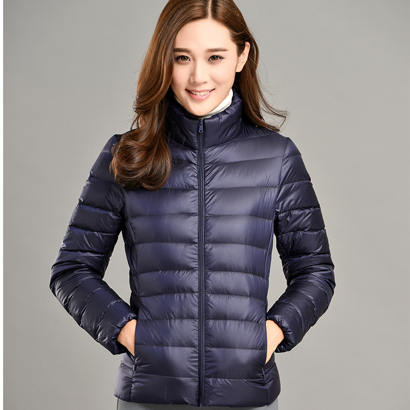 Women down Coat thin Ultra warm full 90% White Duck Down coat slim Jacket solid zipper casual pocket Jacket  Windproof Down Coat