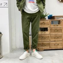 Winter Corduroy Pants Men Warm Fashion Retro Solid Color Casual Trousers Man Streetwear Wild Loose Straight Male M-3XL