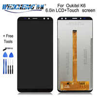 WEICHENG For Oukitel K6 LCD Display+Touch Screen 100%Tested LCD Digitizer Glass Replacement For lcds K6 display phone