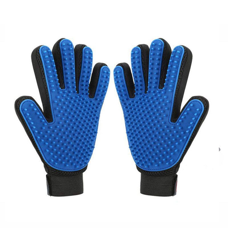 Blue Grooming Pet Brush Glove Soft Silicone Cat Dog Glove For Rabbit Bath Supplies Glove Combs Pet Dog Cat Accessories Products