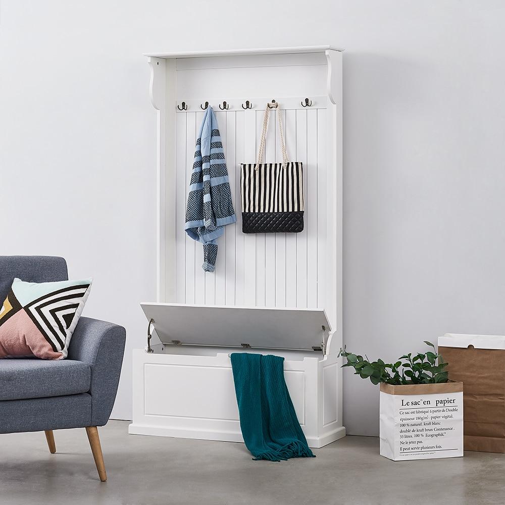 Panana Modern Bedroom Clothing Rack Storage Cabinet Hallway Clothes 6 Hooks Hanging Wardrobe Entryway Coat Shoes Organizer