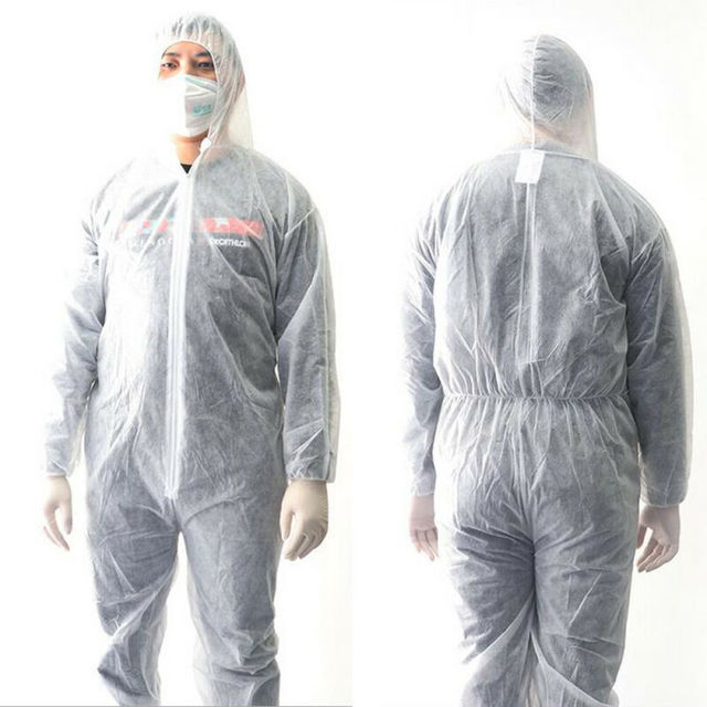PPE White Coverall Hazmat Suit Protection Protective Disposable Anti-Virus Clothing Disposable Factory Hospital Safety Clothing 1