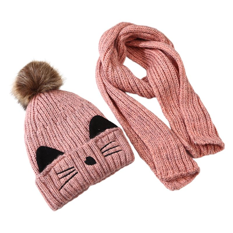 Children Scarf Hat Set Knitted Kitty Pattern Fluffy Pompom Kids Head Cap Shawl