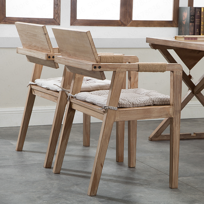 Retro Simple  Dining Room Chairs Solid Wood Chair Desk  Cafe Lounge Chair Restaurant Chairs