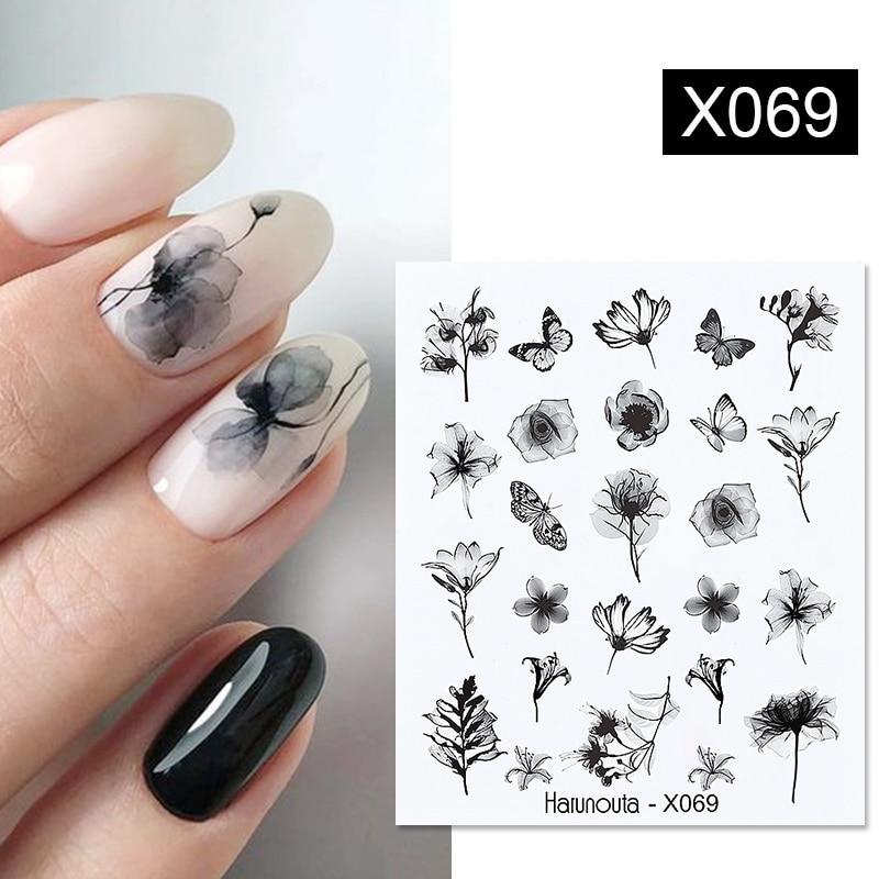 1 лист рельефных наклеек для ногтей Harunouta, 3D Цветочные листья, слайдер, водные переводные наклейки для ногтей, переводные наклейки для ногтев...