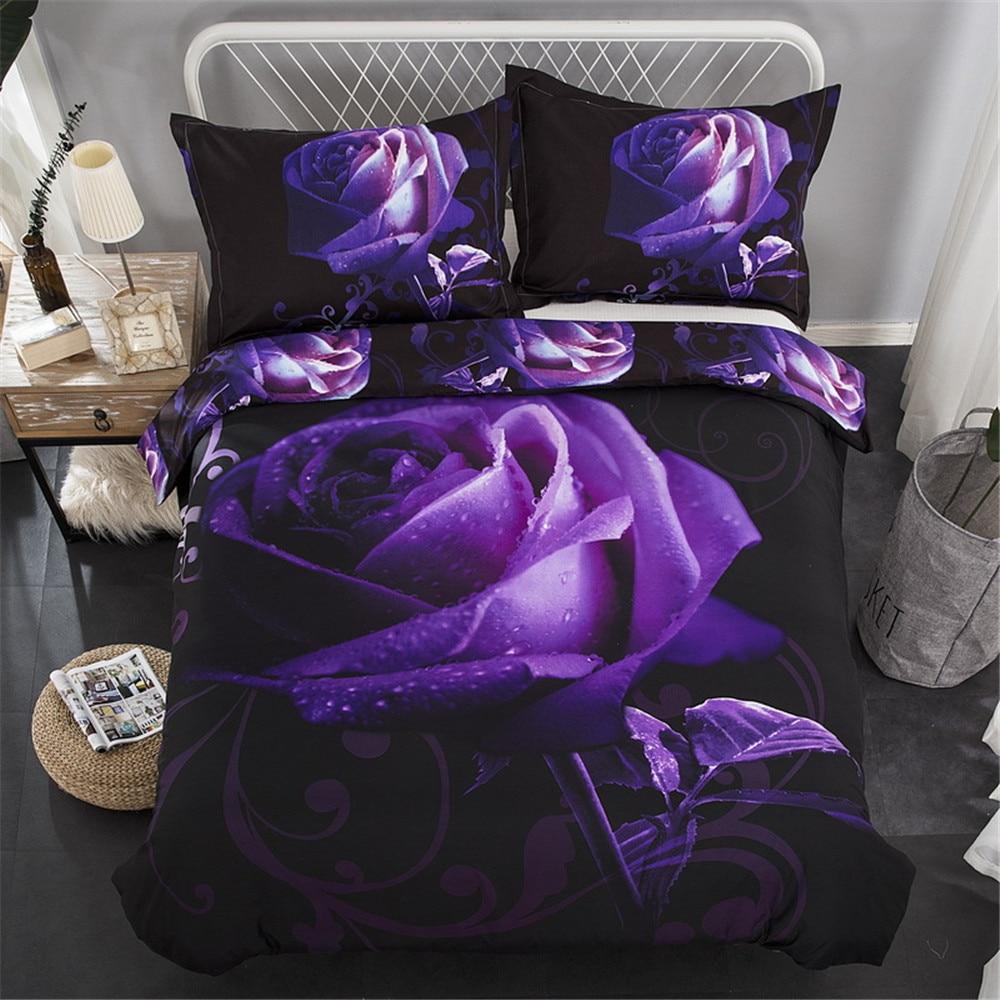 3D Rose Print Bedding Sets Luxury Purple Flower Bed Linen Sets Bedroom Hotel Home Textiles Quilt Duvet Cover Queen King Size