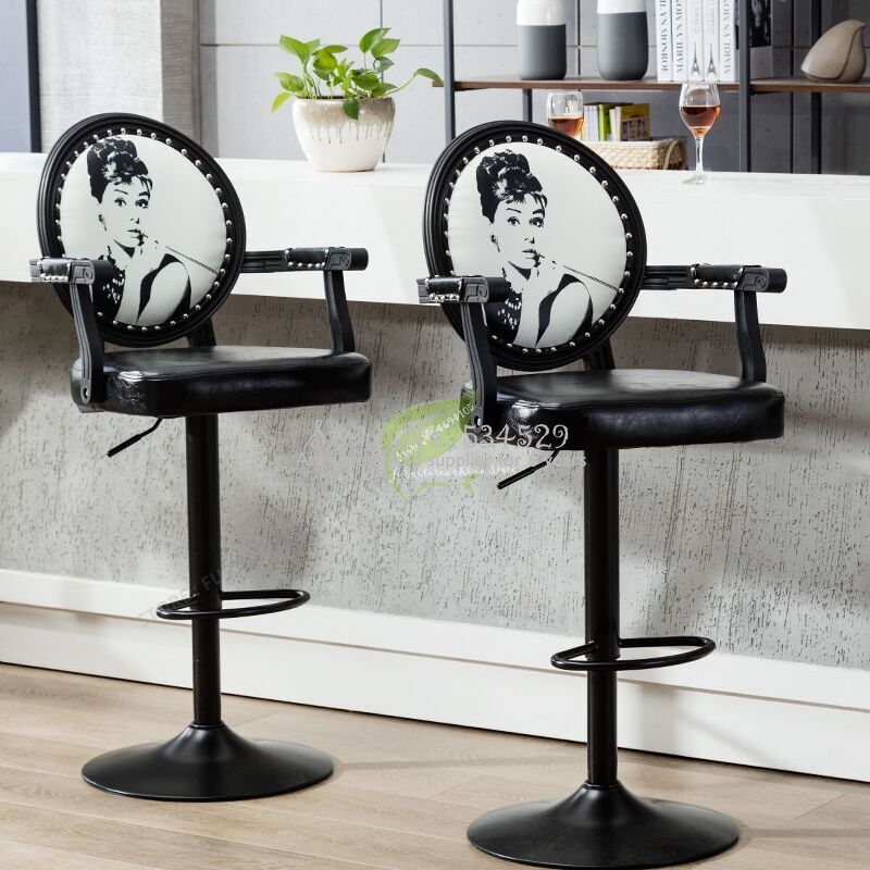 38%Modern Bar Stool  Tabouret De Bar Chair  With Handle Make Up Chair Beauty Salon Furniture Commecial