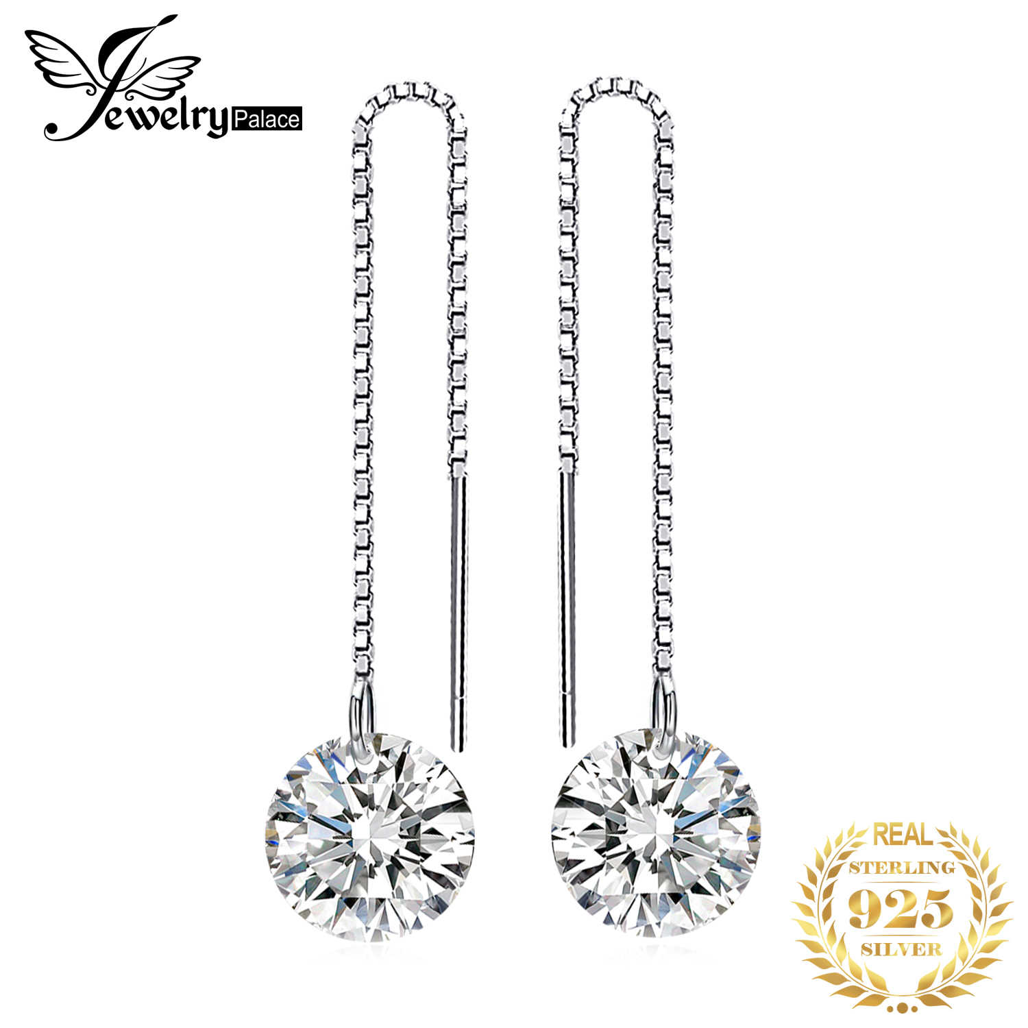 JewelryPalace 925 Sterling Silver Cubic Zirconia CZ Long Drop Earrings For Women Korean Earrings 2019 Earings Fashion Jewelry