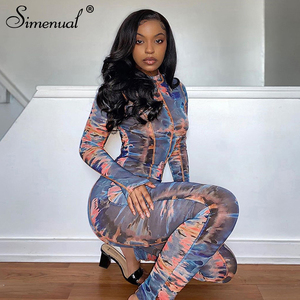Simenual Tie Dye Printed Patchwork Fitness Long Jumpsuits Fashion Autumn 2020 Sporty Active Wear Rompers Womens Jumpsuit Bodycon