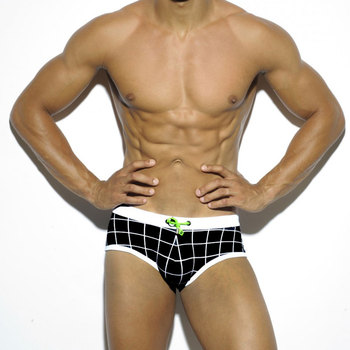 Men New Style Black Plaid Printed Small Boxer Swimming Trunks  Fashion Swimming Trunks Beach Boxers