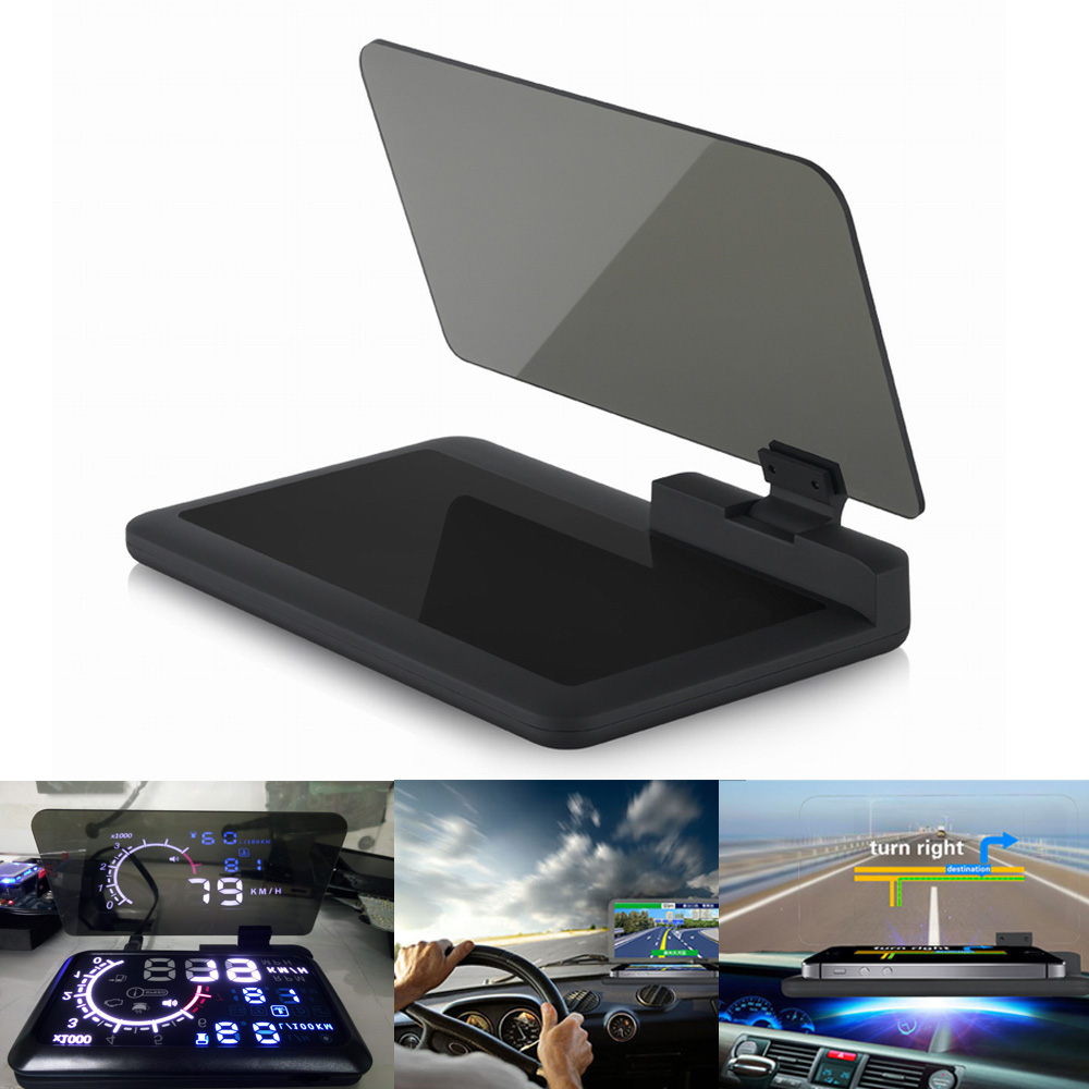 H6 Universal Car Voiture GPS Navigator Smartphone HUD Head Up Display Holder With Transparent Reflection Film Black Non-slip Mat