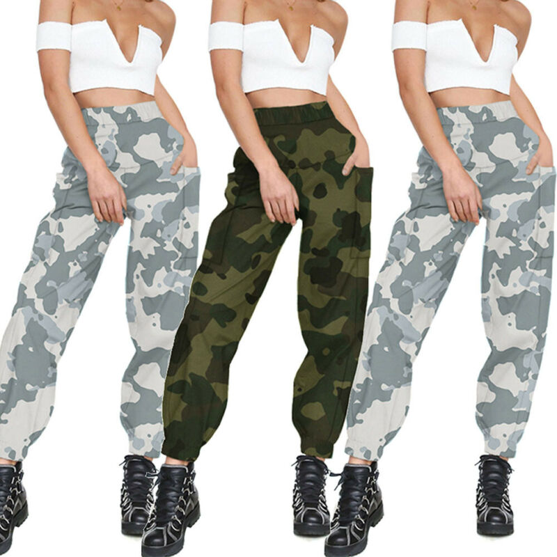 Brand New Women Cargo Pant Casual Outdoor Elastic High Waist Baggy Workout Pants Pockets Autumn Print Loose Fashion Hot 2019