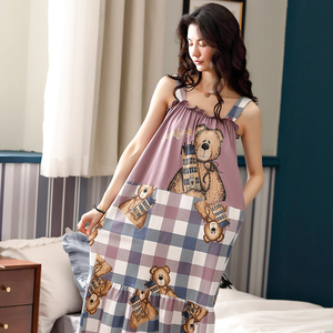 Image 4 - Caiyierพิมพ์หมีน่ารักพิมพ์สลิงNightgownฤดูร้อนNightชุดผ้าฝ้ายผู้หญิงชุดนอนกับพ็อกเก็ตสวมใส่M XXL
