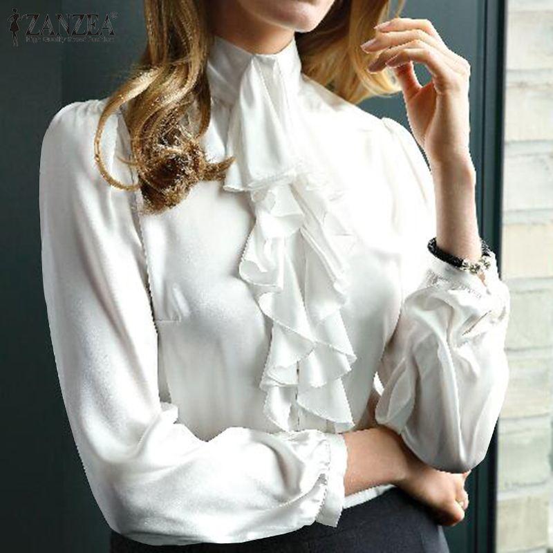 ZANZEA Women Long Sleeve Ruffles Shirt Spring Turtleneck Solid Blusas Casual Office Ladies Blouse Buttons Tops Female Work Top