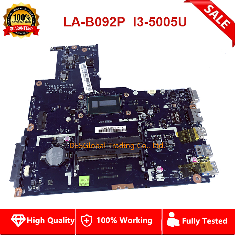 For Lenovo B50-70 B50-80 Laptop Motherboard SR27G I3-5005U Mainboard ZIWB2/ZIWB3/ZIWE1 LA-B092P Fully Tested Fast Shipping