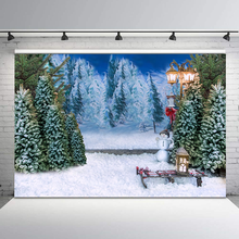 все цены на Winter Snowy Pine Forest Christmas Photography Backdrops Street Light Snowman Photo Studio Background Photocall Photo Prop онлайн
