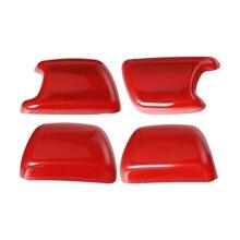 DWCX 4PCS Seat Safety Belt Side Button Cover Trim Decoration Red Fit for Jeep Wrangler JK 2008-2011 2012 2013 2014 2015 2016 plaid trim side button asymmetrical tee