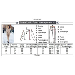 Image 5 - MVGIRLRU Winter Womens knitted suits warm wool long sleeve v neck sweaters+pants loose style 2 piece set Feminine clothes