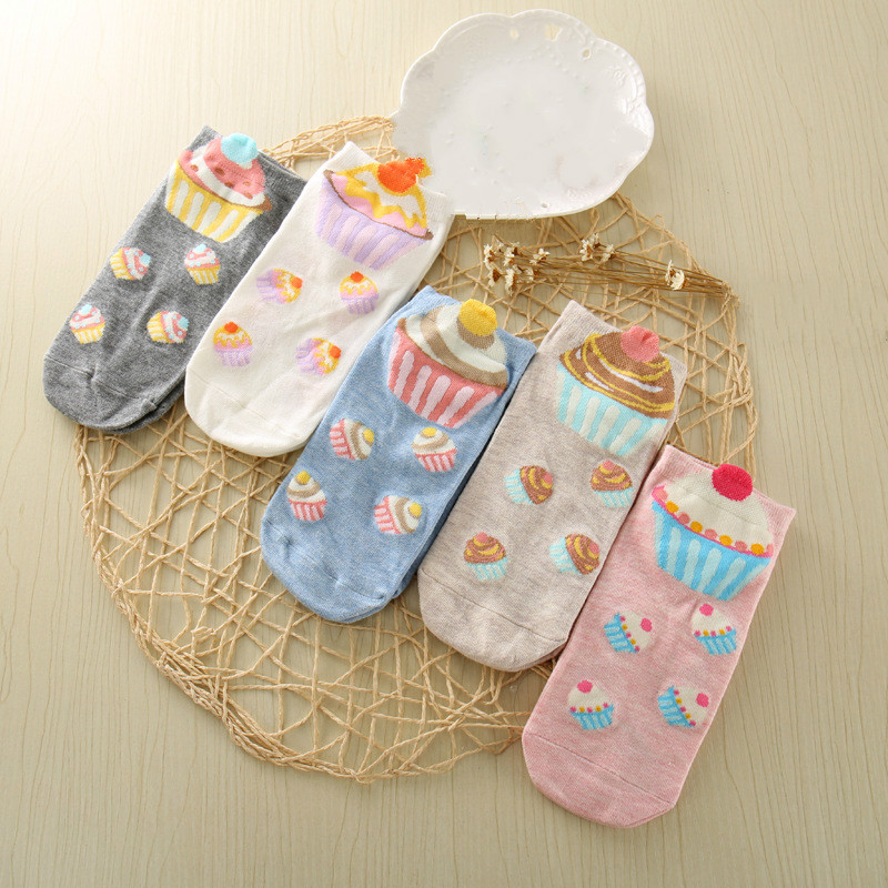 Fashion Kawaii Cute Cartoon Pattern Ladies Socks Summer Invisible Socks Very Short Chausette Funny Harajuku Woman Socks
