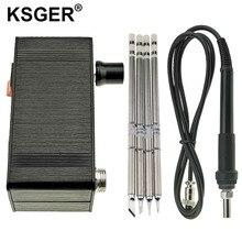 Ksger mini estação de solda, t12 diy stm32 v2.0 oled t12 kits de solda de pontas de ferro plástico abs suporte de zinco rápido aquecimento