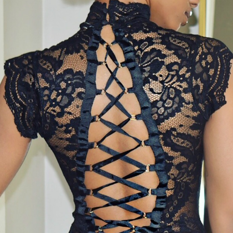 Sexy Backless Cross Strap Lace Body Garment Erotic Romper Overalls Women Hollow Out Bodysuit Body Suits Tops Skinny Party G1272