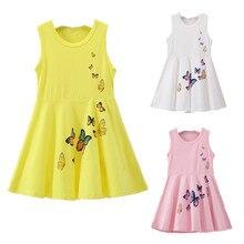 Детские платья для девочек от 2 до 7 лет Летнее белое платье принцессы на день рождения одежда из хлопка для малышей Детское платье с бабочками без рукавов