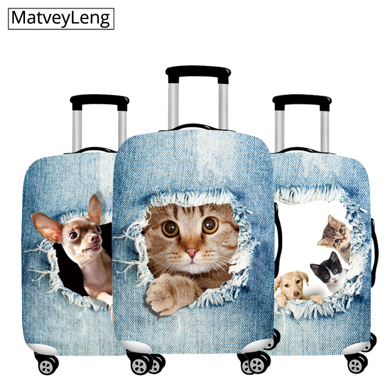 Travel Luggage Cover Suitcase 3D Printing Travel Bag Protection Case Luggage Bag Dust Cover Travel Accessories  For 18-32 Inch