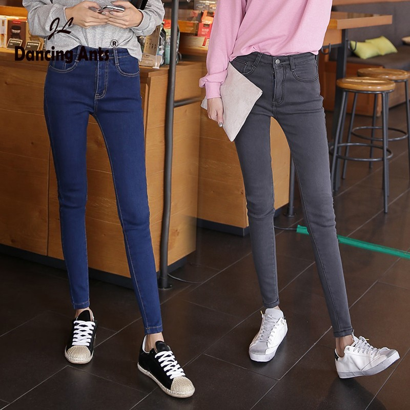 Woman Jeans Skinny High Waist Slim Pencil Pants Korean Style Office Lady Solid Cotton Female Ankle-length Pants 2020 Fashion