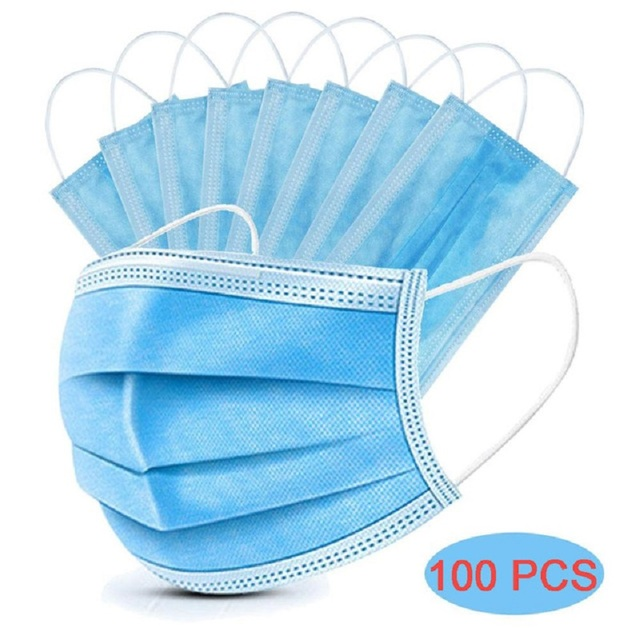 100pcs 3 Layers Disposable Dust Mouth Mask Anti-Pollution Protective Face Masks Safety Elastic Ear Loop PM2.5 soft Face Masks 3