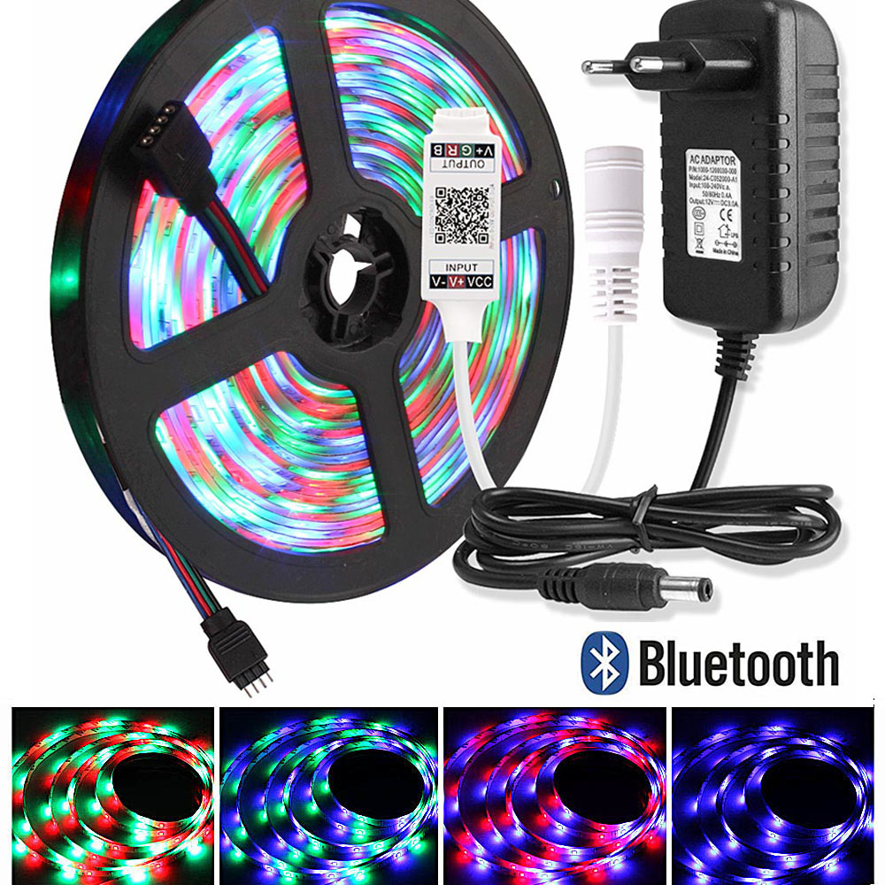 2835 LED Strip Waterproof 5M Ribbon RGB Tape Flexible Neon Diode Tira LED Light Strip 220V To 12V Adapter Bluetooth/17key Remote