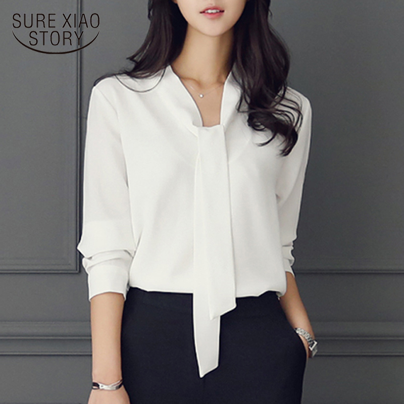 Long-sleeved Bow Tie Shirt 2019 Autumn And Winter New Fashion Women Clothing  Loose Chiffon Shirt Women's Blouse Tops 699C  30