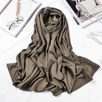 Long Scarves Shawls Solid Color Silk Satin Hijab Scarf For Women Elegant Neck Scarf Female 70*190cm Big Poncho Scarfs For Ladies 1