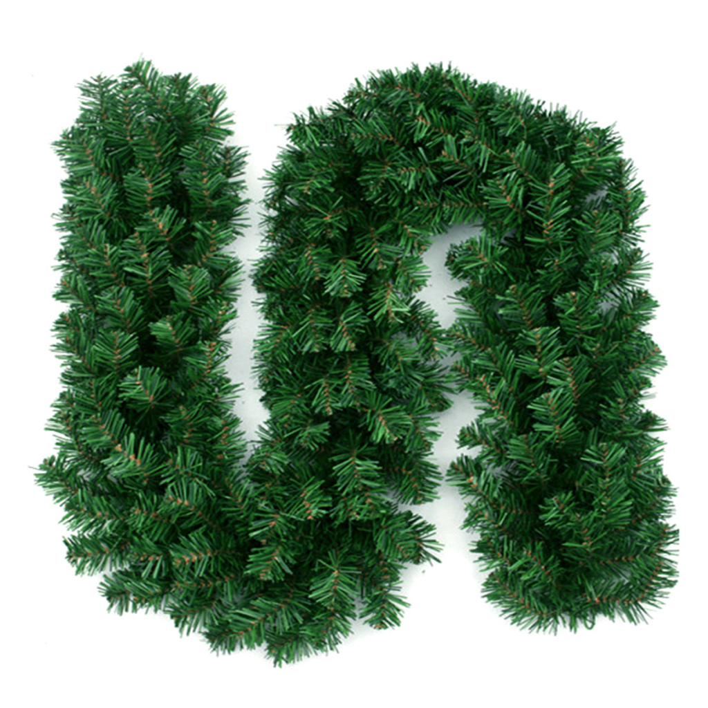 2.7m Green Christmas Artificial Garland Wreath Xmas Home Party Christmas Decor Rattan Hanging Ornament For Kids