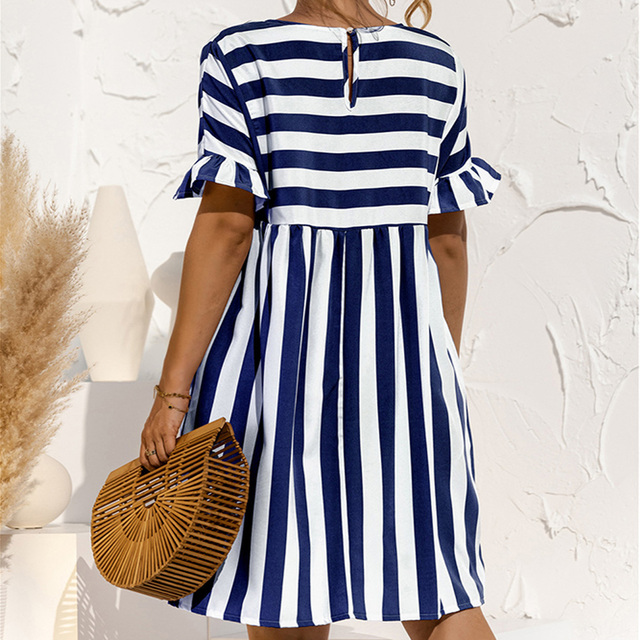 Summer Loose Women Dress Elegant Stripe Midi Dresses Female Casual Short Sleeve Ruffle Office Ladies Dress Pocket Beach Vestidos 4