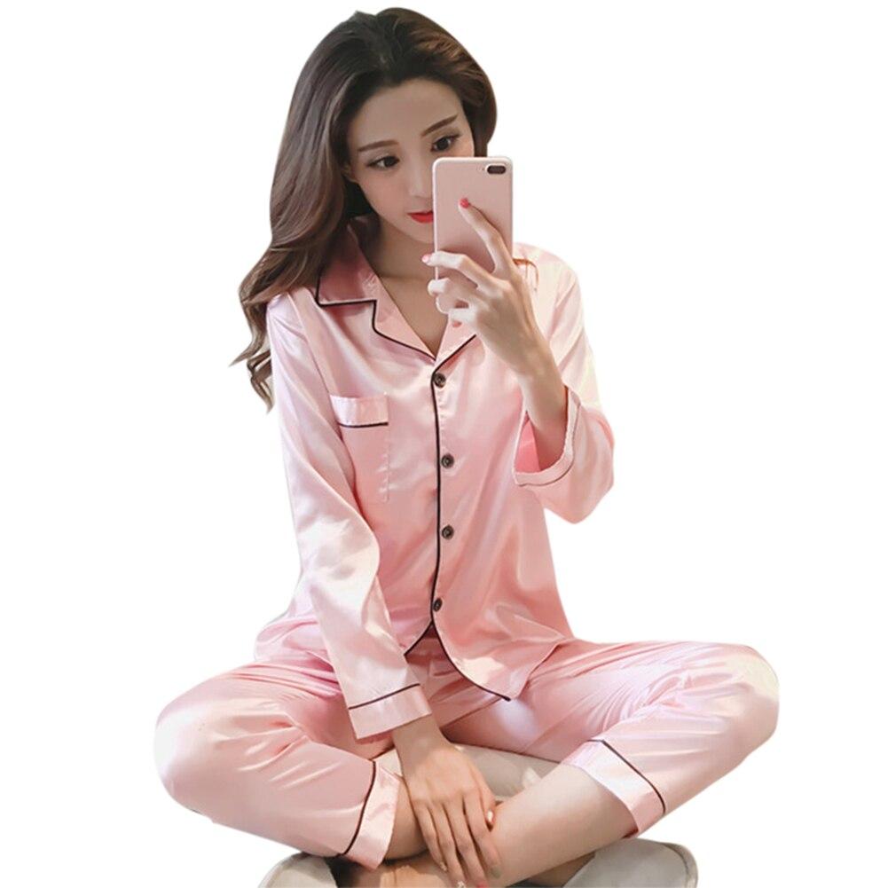 Silk Women Pajamas Girls Pijamas Suit Satin Nightdress Pyjama Long Sleeve Tops Long Pants Set AIC88
