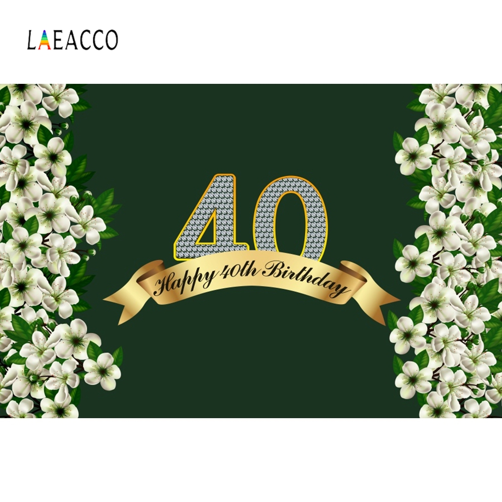 Laeacco Happy <font><b>40th</b></font> <font><b>Birthday</b></font> Photography <font><b>Backdrops</b></font> Customized Family Party Decoration Photographic Backgrounds for Photo Studio image