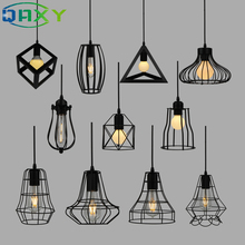 Nordic Retro Black Iron Cage Indoor Pendant Light E27 Dining Room Vintage  LED HangLamp For Clothes Shop Coffee Store[DP2255]